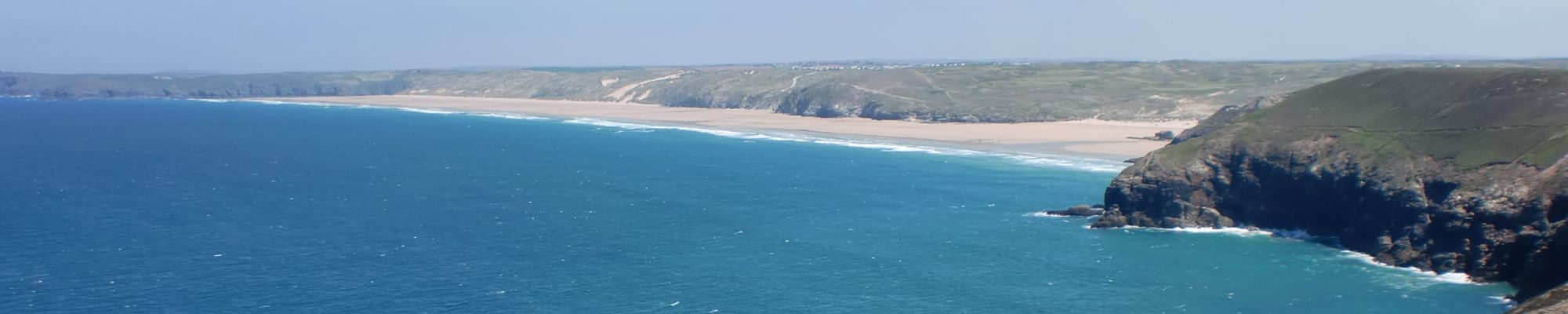View arriving at Perranporth beach