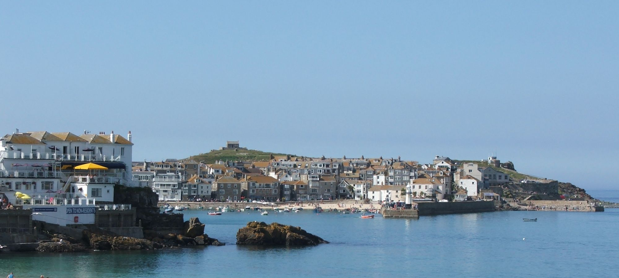 St Ives town from Porthminster beach