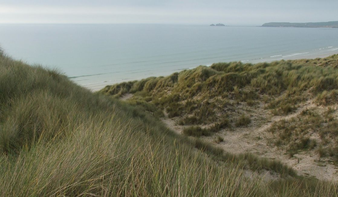 Sand dunes in St Ives Bay