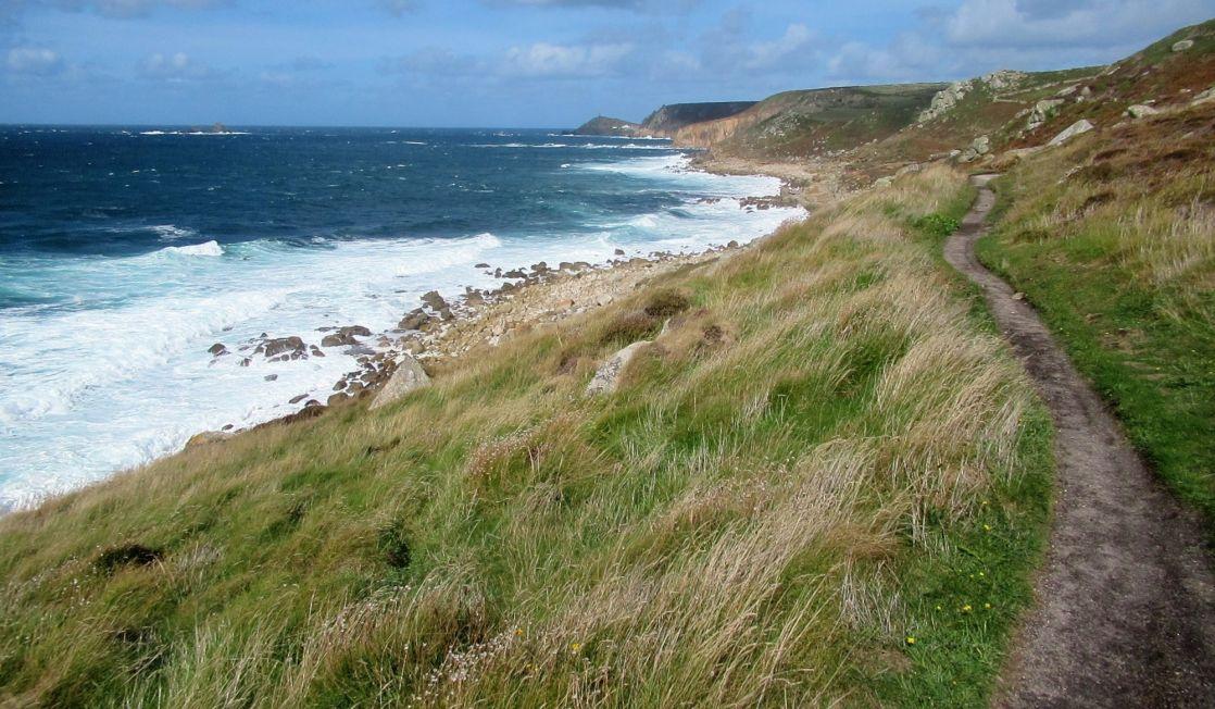 Coast path running next to the sea