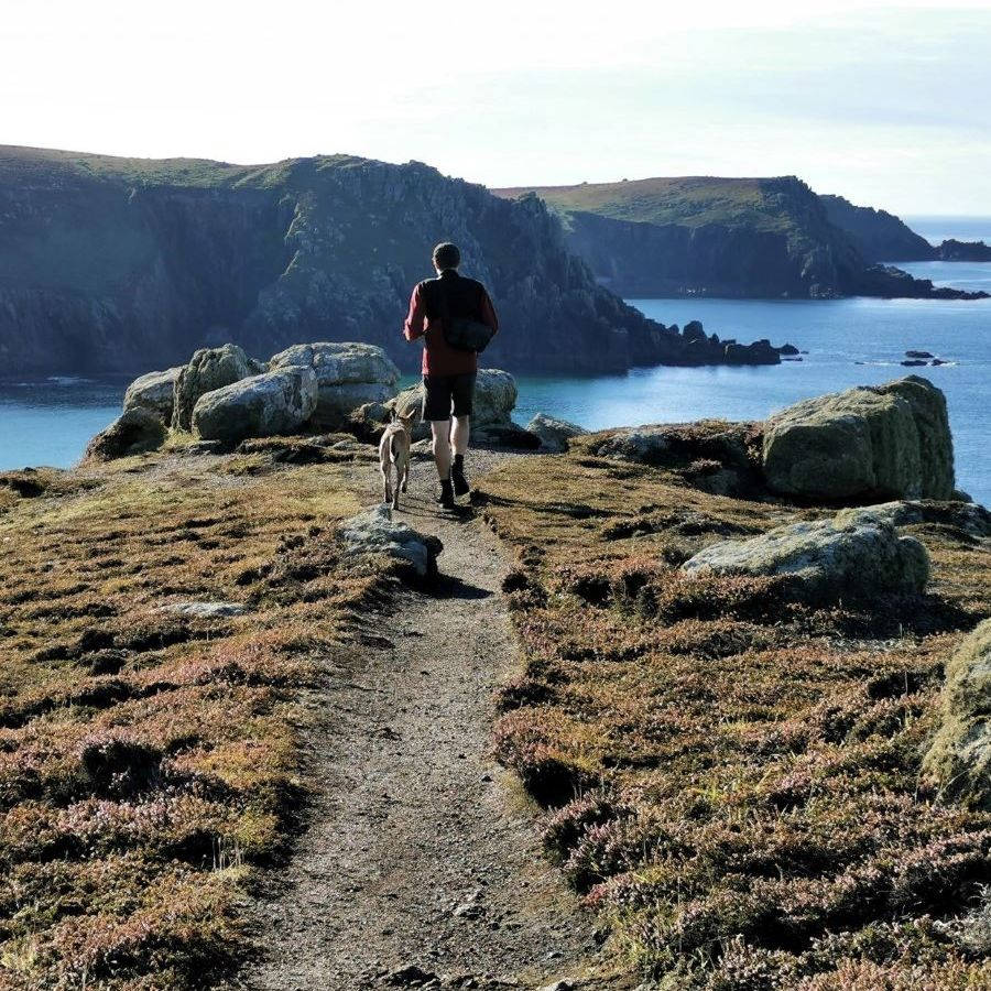 Walker and dog near Land's End