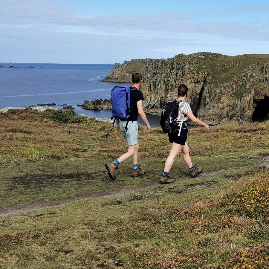 Walkers on the Lands End coast path