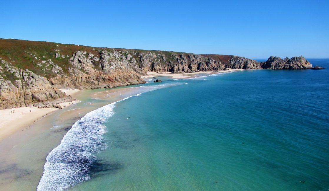Blue seas at porthcurno beach
