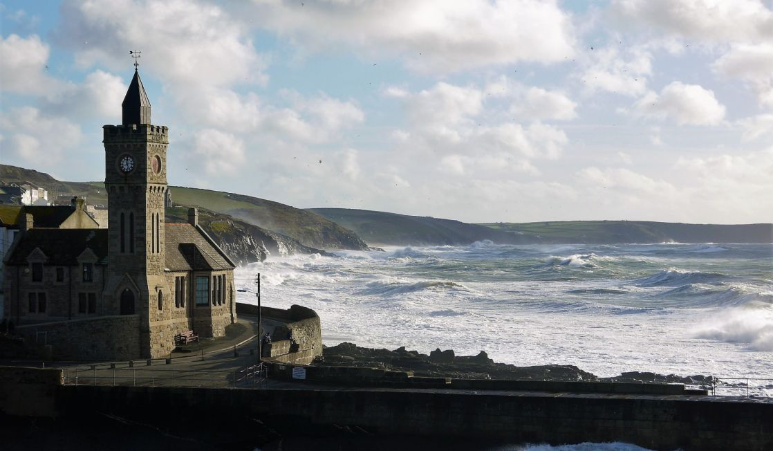 Porthleven clock tower in a storm