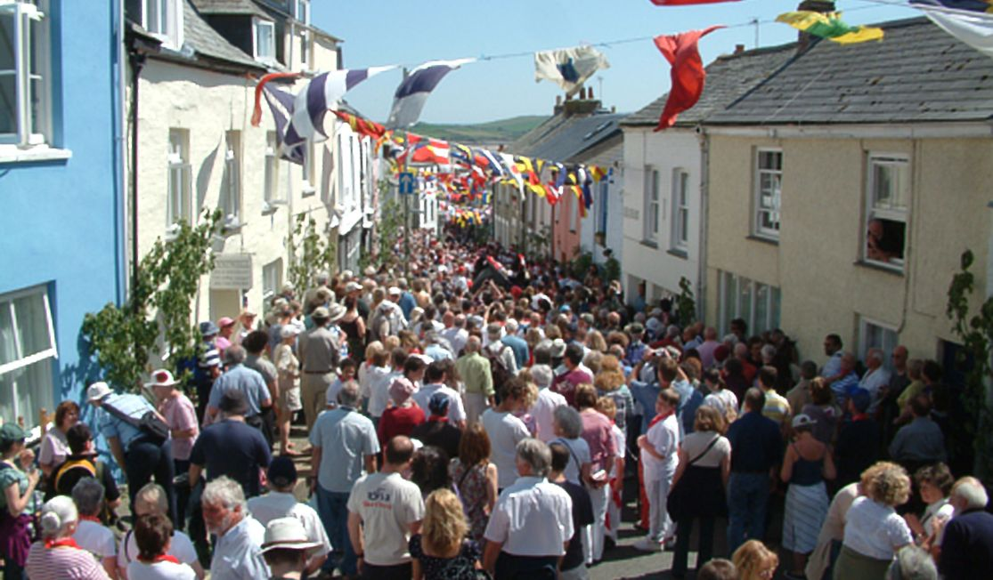 Packed streets of Padstow during May Day