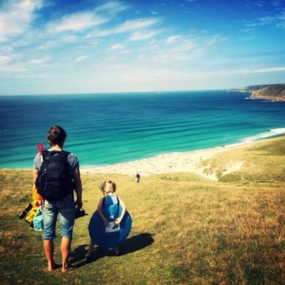 Family on the cliffs at Sennen