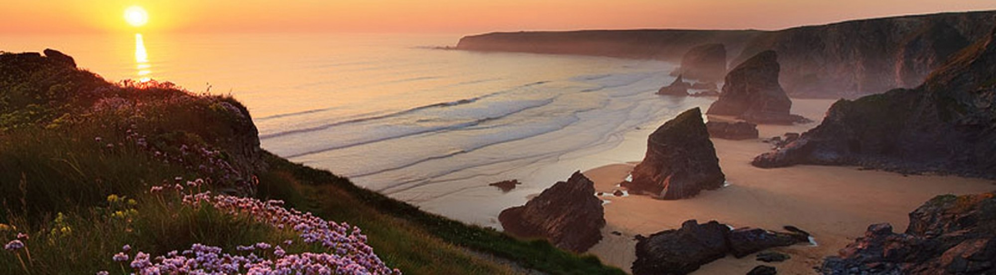 Bedruthan steps at sunrise