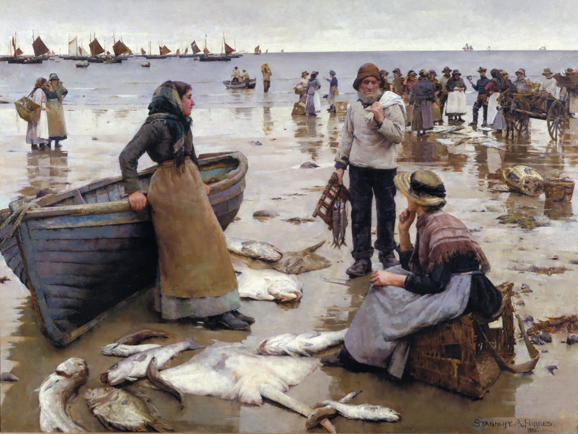Painting of Fish sale on the beach