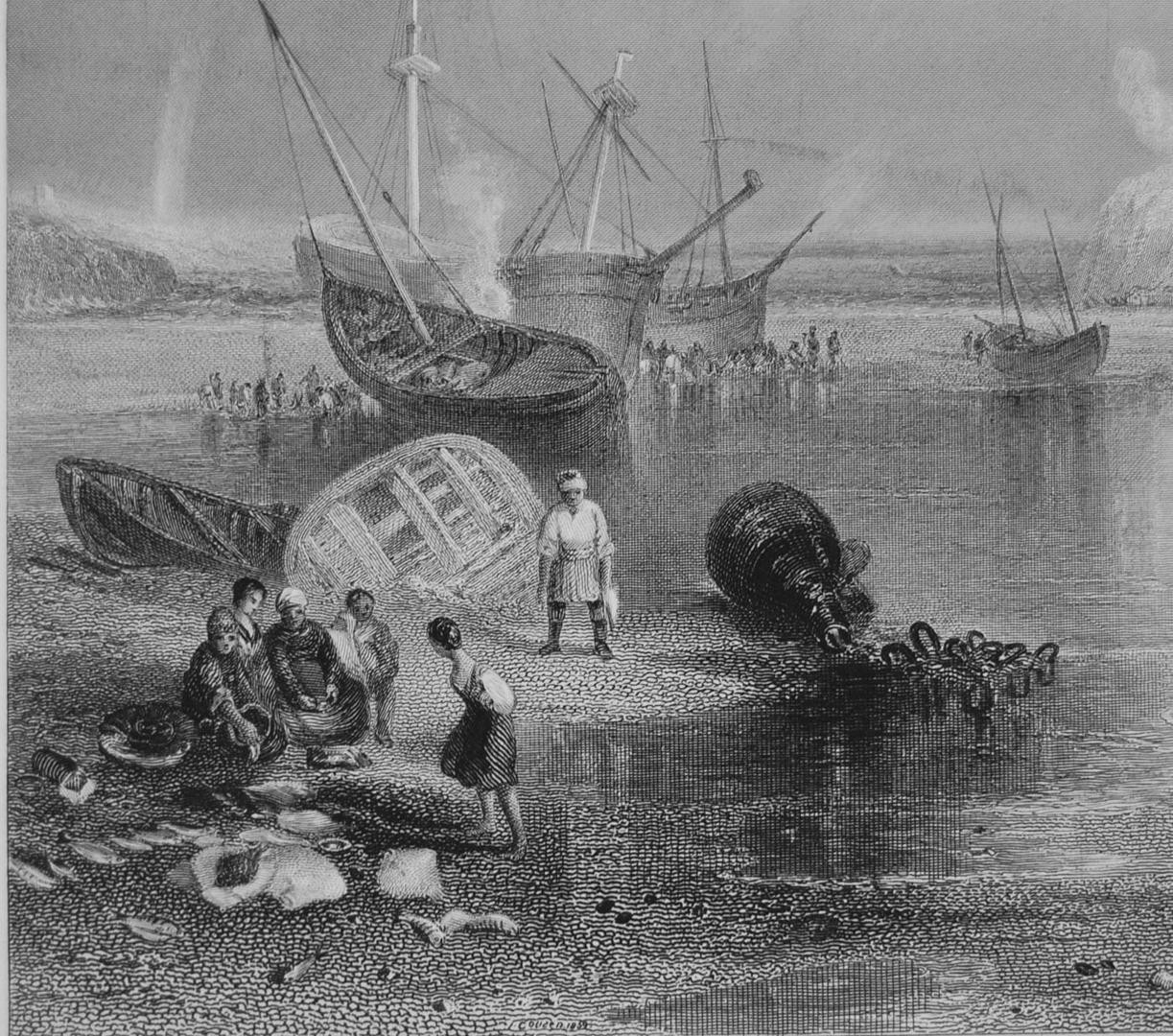 painting of ship wreck at St Michael's Moutn