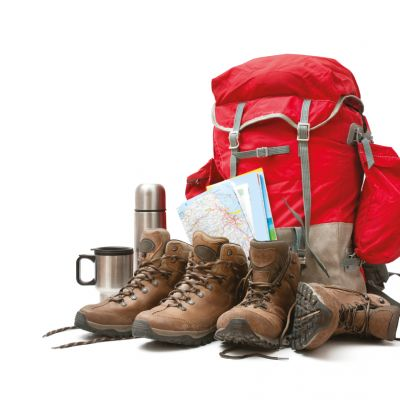 Walking boots and rucksack at the ready