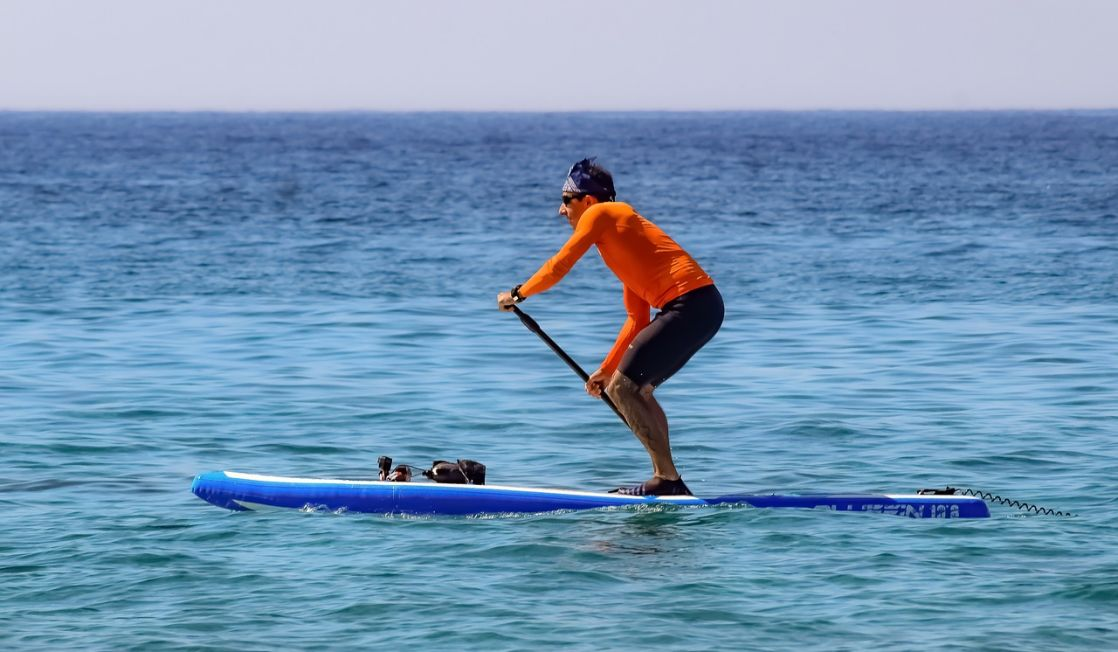 Paddle boarder in the sea