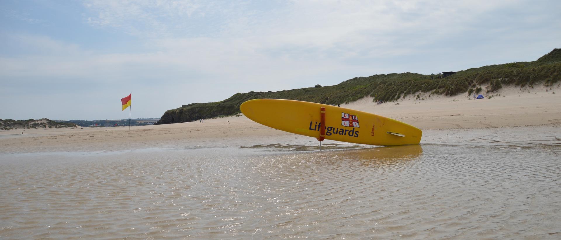 rescue board on the beach