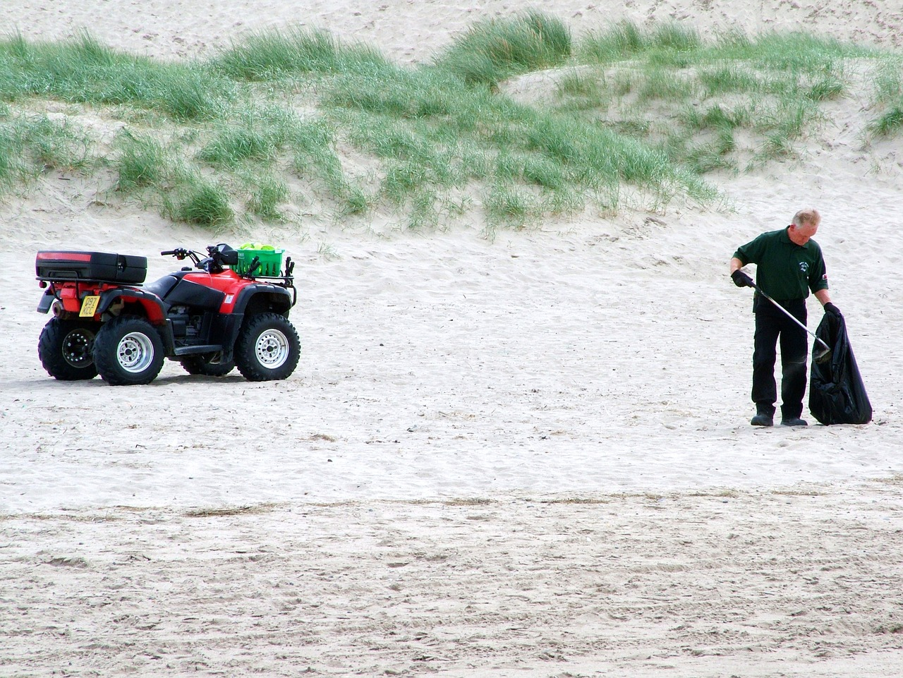 man collecting litter on the beach